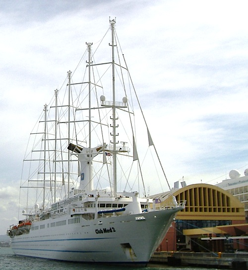 The five-masted Club Med 2, docked in San Juan, Puerto Rico, Feb. 26, 2009.