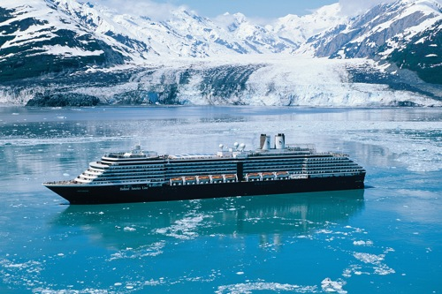 Holland America's Oosterdam navigates the icy waters near Hubbard Glacier, Alaska.
