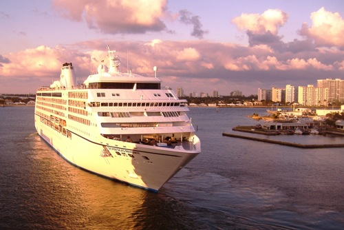 The 700-passenger Regent Seven Seas Mariner is shown departing on her world cruise from Fort Lauderdale last month. Photo by Michael Coleman