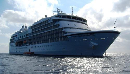 Regent Seven Seas Navigator anchored off Princess Cays, Bahamas, Feb. 24, 2009.