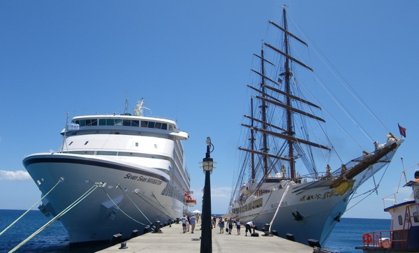 Regent Seven Seas Navigator, left, and Sea Cloud II share dock space in St. Kitts, March 27, 2009.