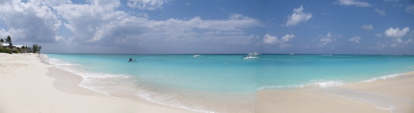 This panoramic view shows 7-Mile Beach on Georgetown, Grand Cayman Island in all of its glory, March 9, 2009.