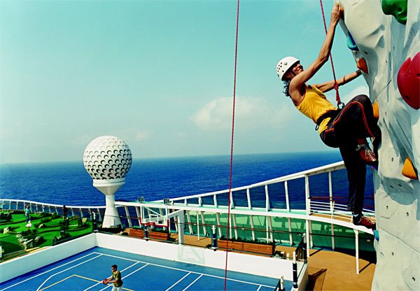 Royal Caribbean has announced that eight amenity-filled ships, complete with the line's famous rock-climbing wall, will be headed to Europe for the 2010 cruise season. Image courtesy Royal Caribbean