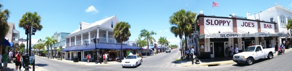 A panoramic look at Duval Street in Key West, taken on April 28, 2009.