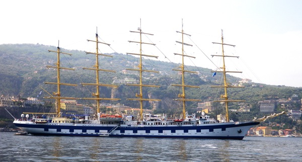 The five-masted Royal Clipper, at anchor off Sorrento, Italy, Monday May 18, 2009.