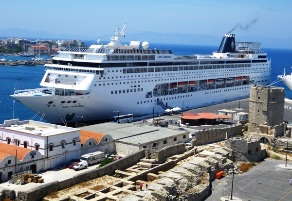 MSC Armonia docked in Rhodes, Greece, Thursday June 11, 2009.