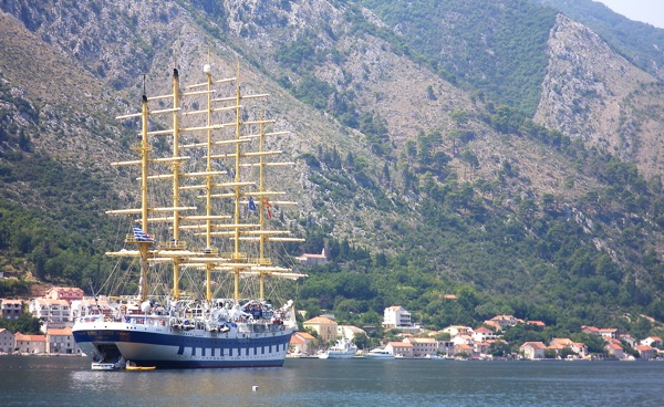 The Royal Clipper, at anchor, off Kotor, Montenegro on Sunday, Aug. 2, 2009.