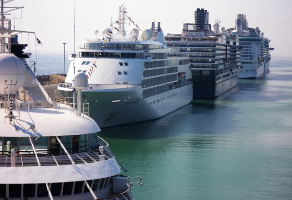 Eight major cruise ships called on Rome, Italy, Saturday Aug. 8, 2009, via the Port of Civitavecchia. Among them, from left, Seabourn Spirit, Silver Whisper and Oosterdam transported thousands of passengers to the Eternal City.
