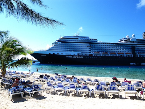 The 2,104-passenger Eurodam, the newest vessel in Holland America's 14-ship fleet, docked Monday on Grand Turk in the Turks & Caicos. She's in the midst of a 7-night itinerary and will call on San Juan, St. Thomas and Half Moon Cay, Bahamas, later in the week. Photo by Michael Coleman
