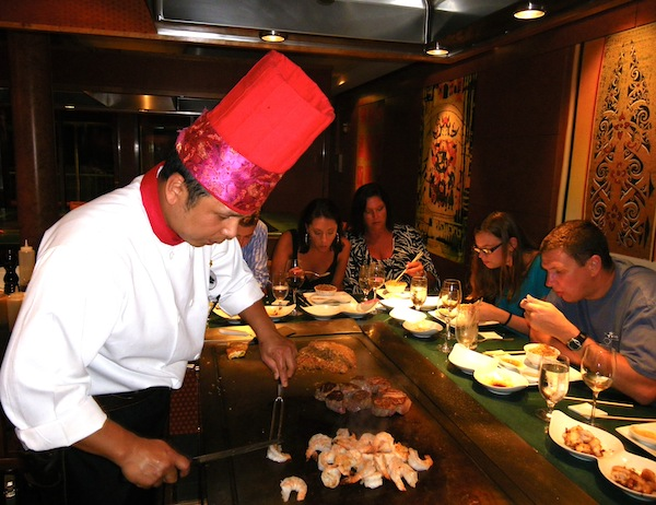 Chefs in Teppanyaki, one of 12 restaurants aboard Norwegian Pearl, treat guests to both a culinary show and excellent fare. Photos by Michael Coleman