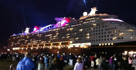 Disney's newest cruise ship arrives at Port Canaveral with fireworks