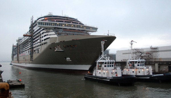MSC Divina is afloat and ready to be primped for her 2012 debut
