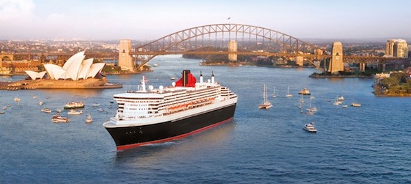 Cunard's flagship Queen Mary 2 in Sydney, Australia.  In 2015, she will meet sister ship Queen Victoria Down Under in Sydney to celebrate the company's 175 years of service.  Photo Courtesy of Cunard Cruises
